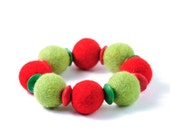 Christmas Bracelet Chunky Felted Beadwork Bracelet Green and Red Winter Holiday Jewelry