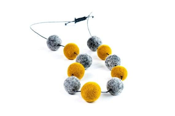 Mustard Grey Necklace Felt Jewelry Extra Long Autumn Statement Necklace Eco Friendly