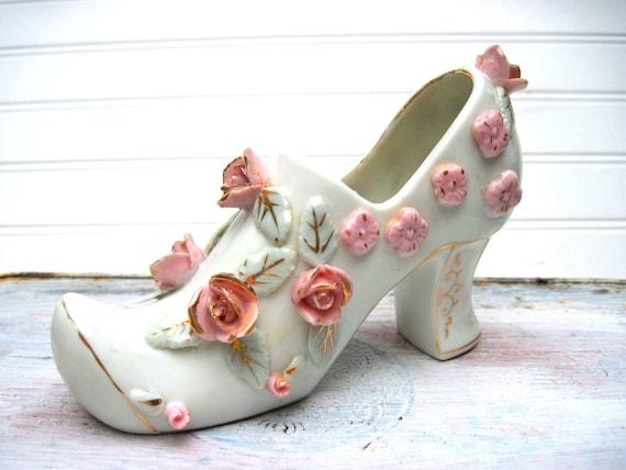 Vintage planter shoe fancy floral roses- bone china -boudoir-princess