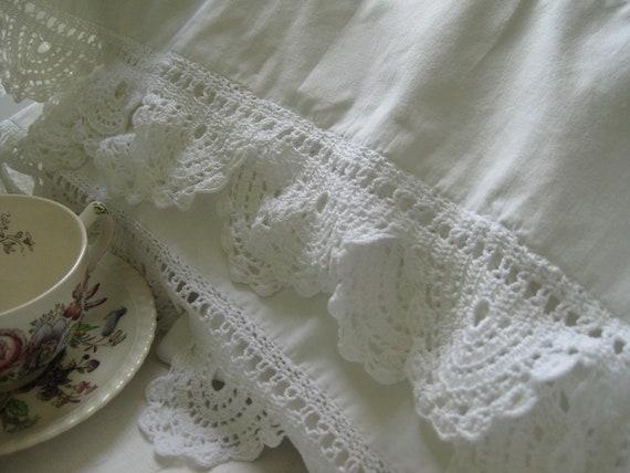 vintage lace crochet  pillow cases - set of two