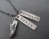 RUN TRACK HURDLES Necklace - Hurdles Necklace on Gunmetal chain - Track Jewelry - Hurdles Jewelry - Hurdles - Unisex Hurdles Necklace