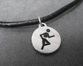RUN Round Sterling Silver Runner Necklace on Leather and Sterling Silver chain - 17 3/4 or 19 1/2 inch - Unisex Runner Necklace - Runner Guy