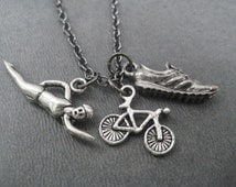 SWIM Bike RUN Charm Triathlon Necklace on Gunmetal Chain - Add a Round Nickel Silver TRI Charm - Swim Bike Run Necklace - Triathlon - Tri