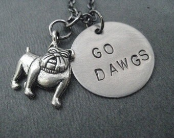 GO DAWGS - Georgia Bulldogs Round Pendant Necklace on 18 in gunmetal chain - UGA Necklace - Dawgs Jewelry - Georgia Football - Red and Black