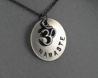 OM NAMASTE YOGA Round Necklace - Yoga Jewelry - Om Necklace - Namaste Necklace on Gunmetal chain - Inspire Jewelry - Hot Yoga - Centergy