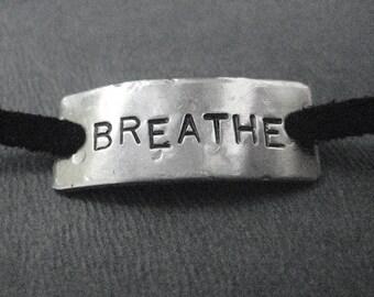 BREATHE Wrap Bracelet  - Yoga Jewelry - Inspirational Jewelry - Nickel Silver Pendant on 3 feet of Micro Fiber Suede - Yoga Wrap - Hot Yoga