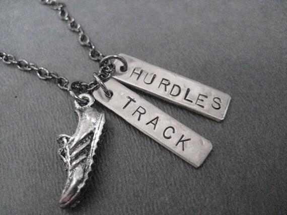 RUN TRACK HURDLES Necklace - Hurdles Necklace on Gunmetal chain - Track Jewelry - Hurdles Jewelry - Hurdles - Unisex Hurdles Necklace