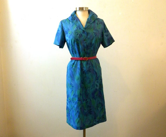50s 60s Dress / Day Dress Blue / Shift Shawl Collar Floral Short Sleeve / Large