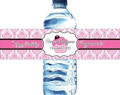 Waterproof Water Bottle Labels - 50 Printed labels with your child's name and birthday