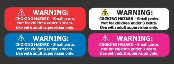 "500 Small 1.75"" X .5"" Choking Hazard Warning Labels"