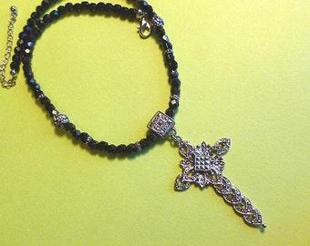 30% SALE: MARCASITE Beaded Cross, 1980s Silvertone Beaded Cross, Marcasite Cross Necklace, Black Beaded Silver Cross, Vintage Cross Necklace