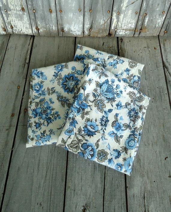 White Vintage Kitchen Curtains: Vintage Blue Curtains Panels Cafe Valance Brown White Floral