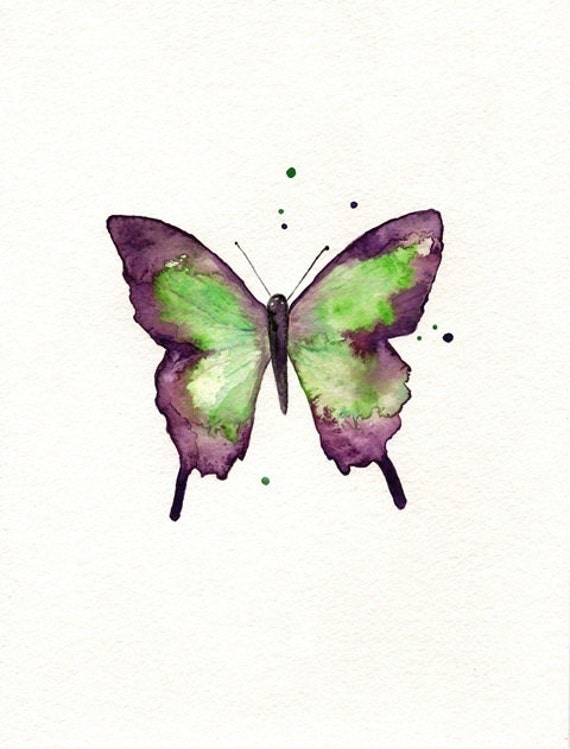 Butterfly/Dragonfly/Eggplant,Plum, Purple and Light Green/ Watercolor Print/ 2 for 35.00