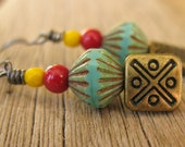 Southwest red, yellow and turquoise earrings, hostess gift