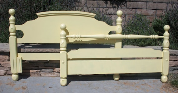 Queen Headboard / Foot board Vintage Bed painted Butter Yellow By Foo Foo La La