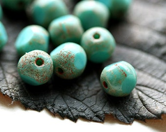 8mm Rustic Czech beads, Turquoise green, Picasso round cut beads, fire polished - 15Pc - 0476