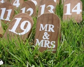 hand-painted rustic wood wedding table numbers : set of 20 -FREE SHIPPING