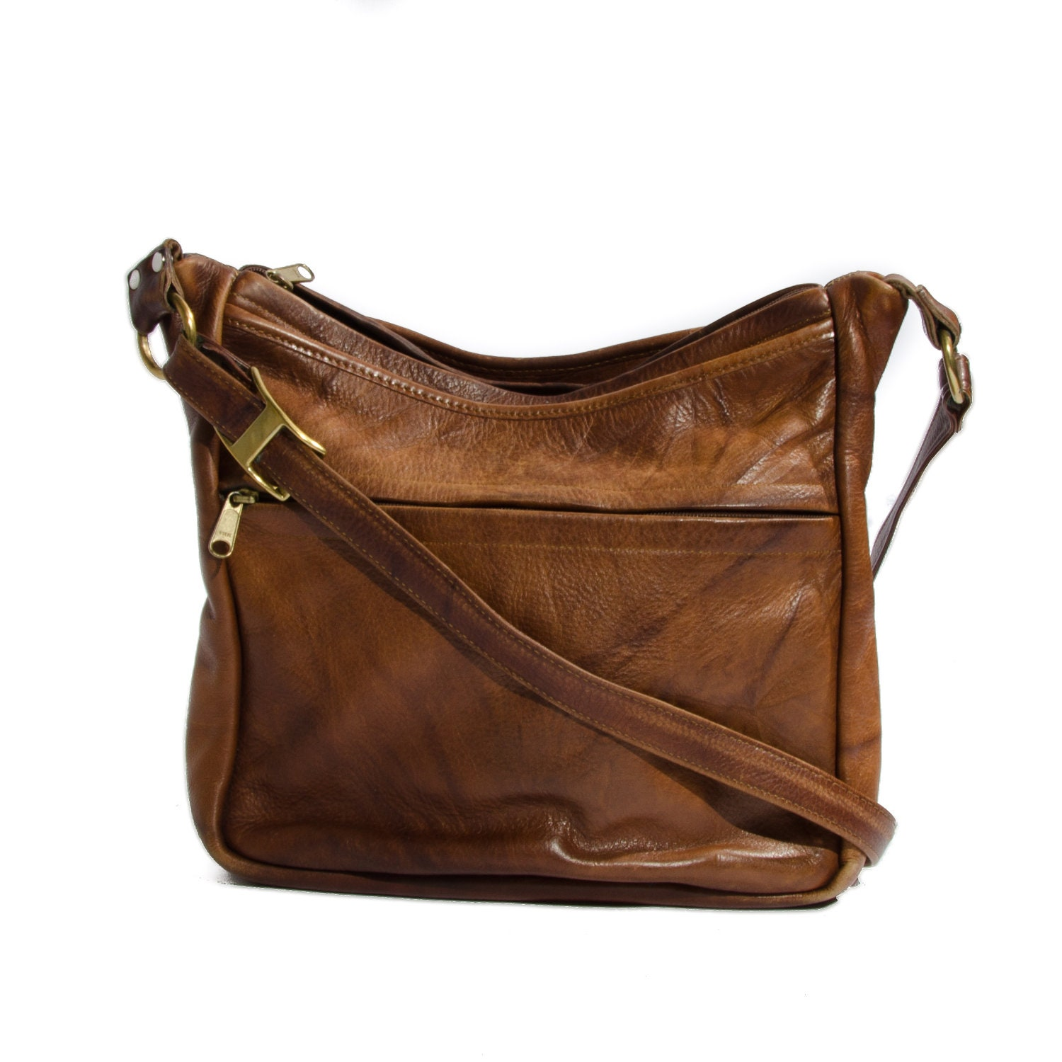 Brown Marbled Leather Shoulder Bag Women's Tote Purse Boho