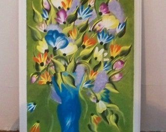"""Original Painting on Wooden Plaque """"A Bouquet For You"""" Floral Bouquet in Vase"""