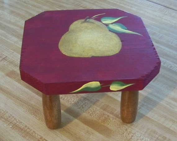 """Original Pear Painting on Wooden Plant Stand """"Everyday Blessings"""" for Thanksgiving, Christmas, and Everyday"""