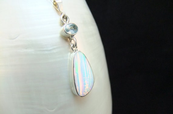 Gorgeous White Opal and Blue Topaz  Sterling Silver Necklace