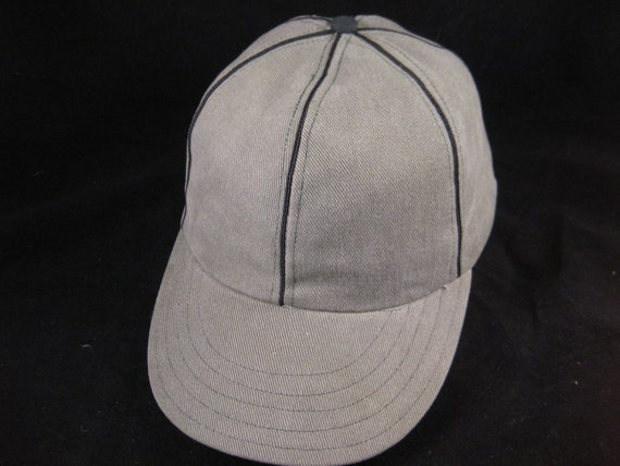 Baseball cap in soft micro Corduroy fabric, black soutache trim,  with 1940 era visor style. Fitted size 7 1/4. Additional sizes available