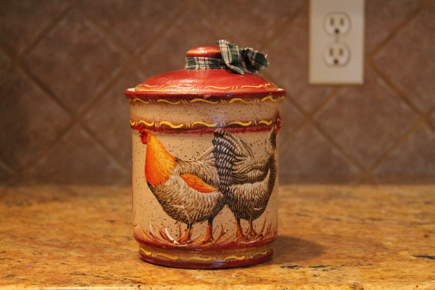 canister glass rooster decor kitchen storage rooster