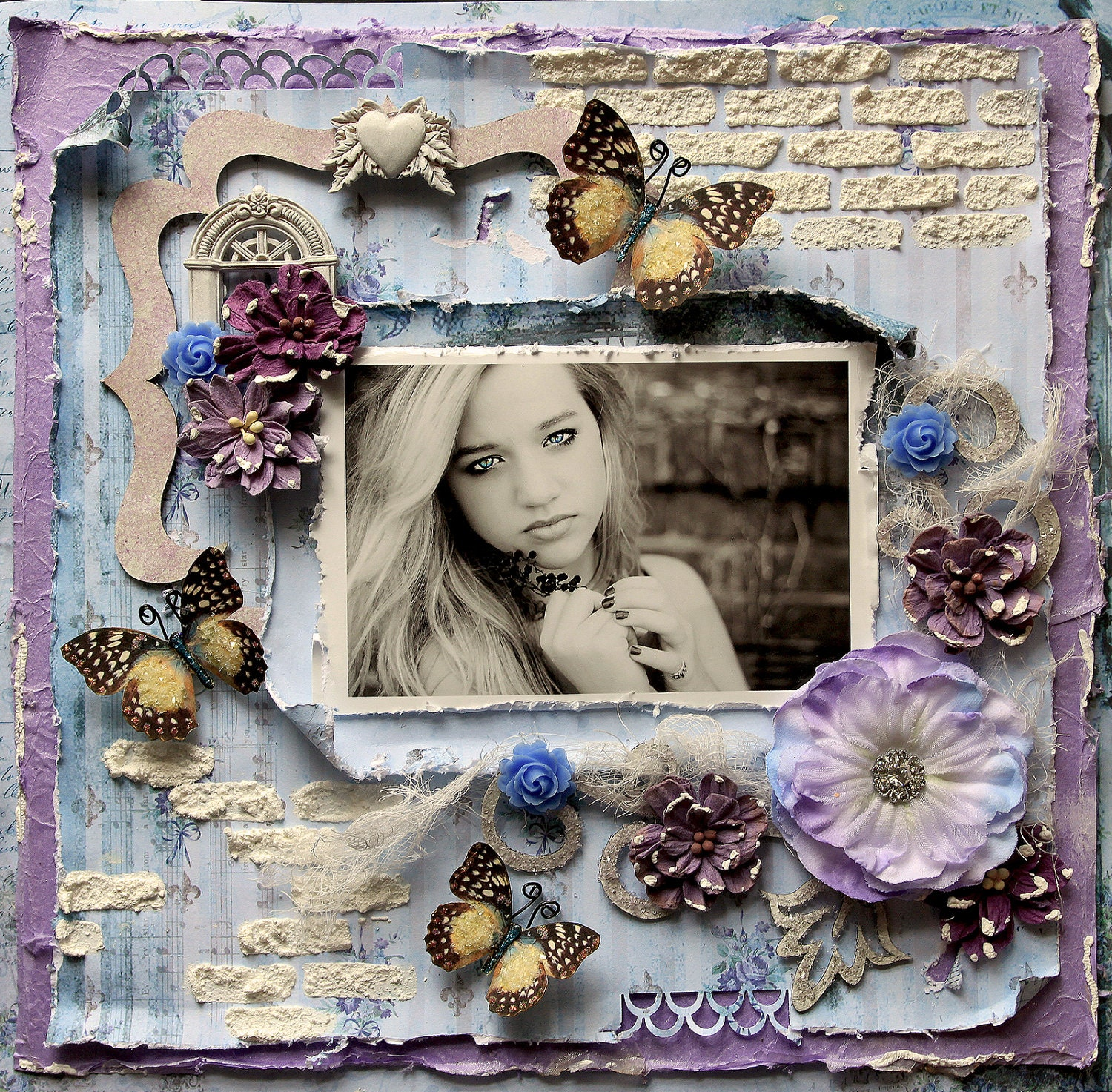 Premade Scrapbook Page 12 X 12 Shabby Chic Art By Reneabouquets