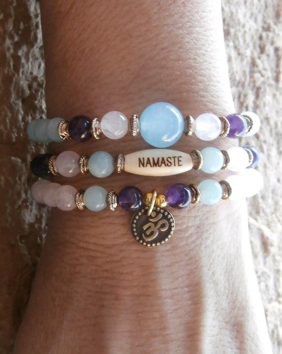 Set of 3 , Amethyst, Amazonite, Rose Quartz & Aquamarine guru bead with Om and Namaste bead, Meditation, Reiki Charged, free shipping