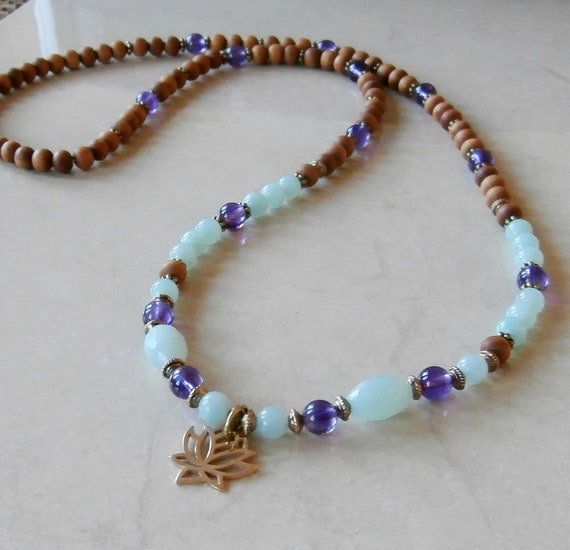 Reserved for Brandy, 108 sandalwood mala with Amazonite, Amethyst & lotus charm . Meditation bracelet, Reiki Charged, free shipping