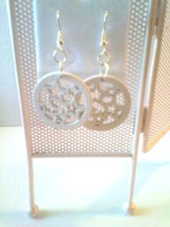 Wooden cut out earrings, CLEARANCE