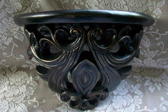 Vintage Shelf, Black Accent Shelf, Paris Apartment, Hollywood Regency Decor, Wall Decor