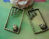 10 pcs 30x18mm Antique Bronze Birds Rectangle Birdcage Cages Charms Pendants 0913a02D35