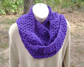 Crochet Scarf Cowl Infinity Mobius Purple Grape Men Women Teen