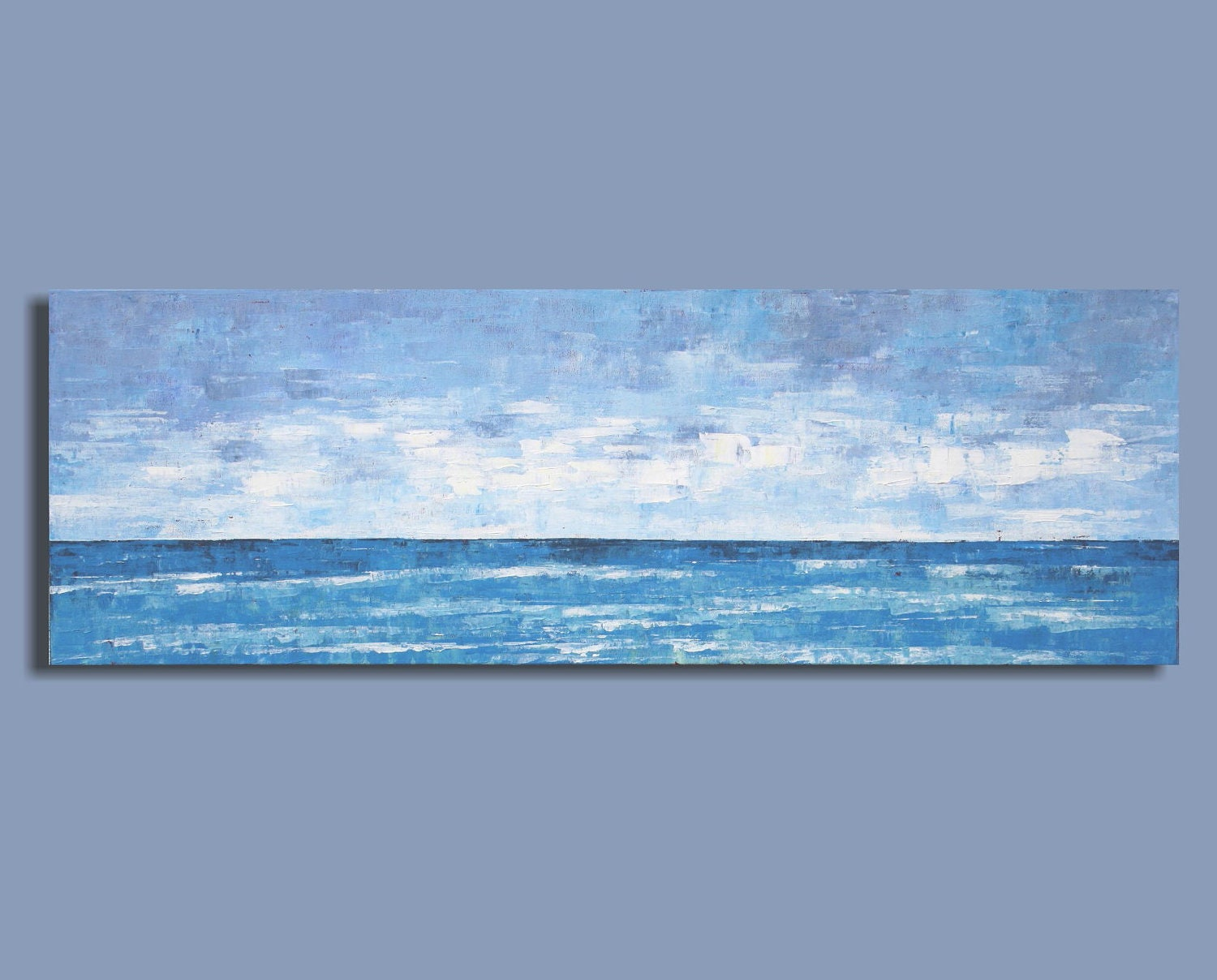 Abstract Ocean Painting Panorama in Blue Waves Roll In