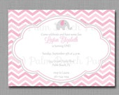Chevron Elephant Invitation - Printable