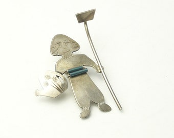 Vintage Silver Plate Farmer With Hoe Wire Wrapped Belt 1970's Brooch Tack Pin Costume Jewelry Gift For Her on Etsy