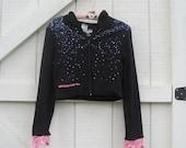 Black hoodie, cropped hoodie, black knit hoodie, sequin hoodie, black pink, XS-S, Ready to ship
