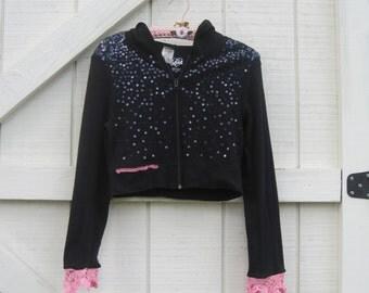 Boho hoodie S Black hoodie, cropped hoodie, black knit hoodie, sequin hoodie, black pink.
