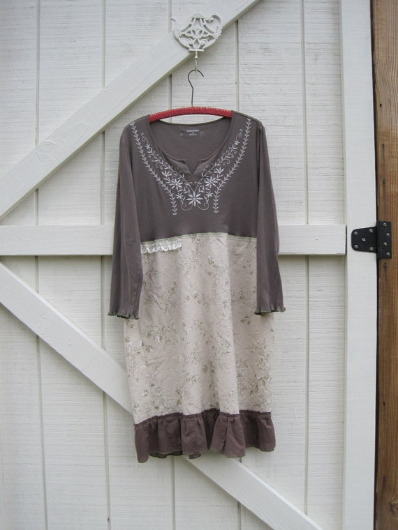 RESERVED for Missouri... Prairie dress cocoa brown upcyled slip on dress comfortable fall dress Ready to ship