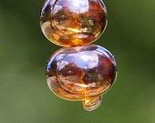 Golden Glow PAIR Handmade Lampworked Glass Beads OOAK