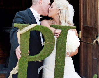 Moss Covered Letters - Moss Monogram Wedding Letters - Set of TWO ( 24 inches )