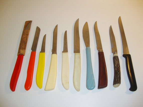vintage kitchen knives colorful plastic lucite acrylic