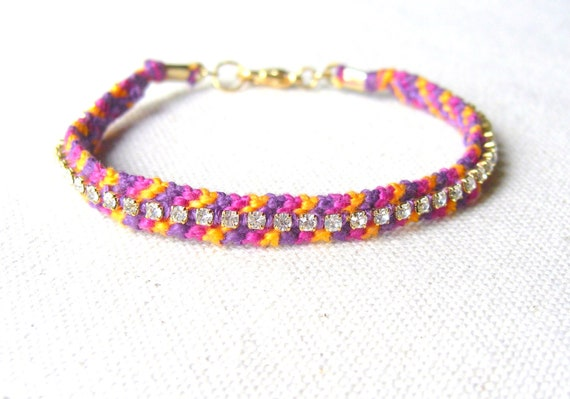 Friendship Bracelet with Rhinestones - Candy Stripe