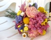 Bridal Bouquet with Naturally Dried Pink, Yellow, Purple Flowers for Country, Farm, Vintage Chic Wedding Eco-friendly Keepsake