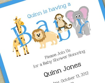 Animal Baby Shower Invitation - Personalized DIY Printable Digital File - Girl, Boy, or Neutral Color