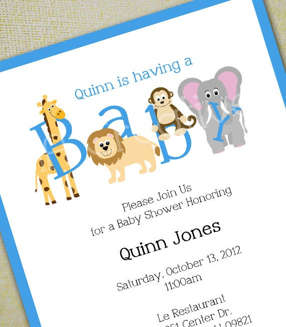 animal baby shower invitation personalized diy printable, Baby shower invitations