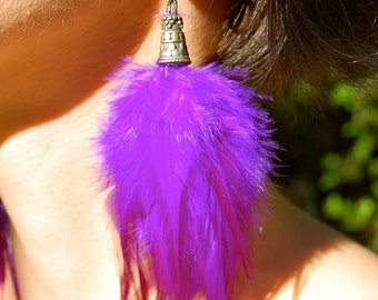 ELECTRIC PURPLE Feather Earrings