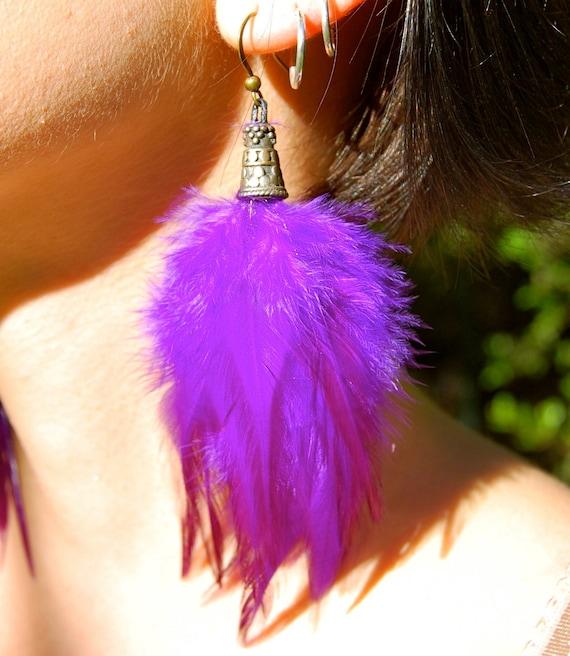 ELECTRIC PURPLE Feather Earrings