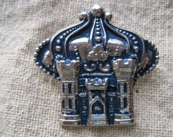 Vintage Turquoise & Silver Palace Brooch